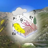 LANDPLANER (LANDscape Plants LANdslide and ERosion) è in grado di modellare congiuntamente frane (in giallo) e processi di erosione (in rosso) indotti da pioggia a partire da un modello idrologico che considera pioggia [P], deflusso [Q], infiltrazione [I], esfiltrazione [ex], ed evapotraspirazione [EPT] come somma di evaporazione dal suolo [Ev] e traspirazione delle piante [T].