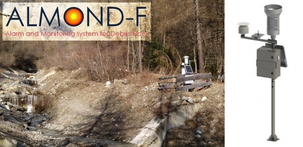 The ALMOND-F equipment installed on the left bank of the Gadria torrent. The structure also includes a raingauge, a solar panel and the box containing the data logger
