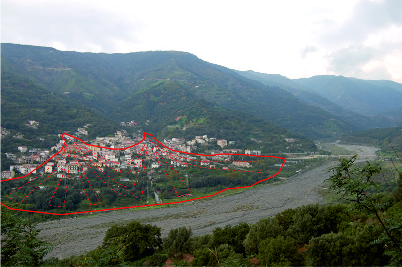 Village of Bagaladi (Province of Reggio Calabria) built on two inactive alluvial fans.
