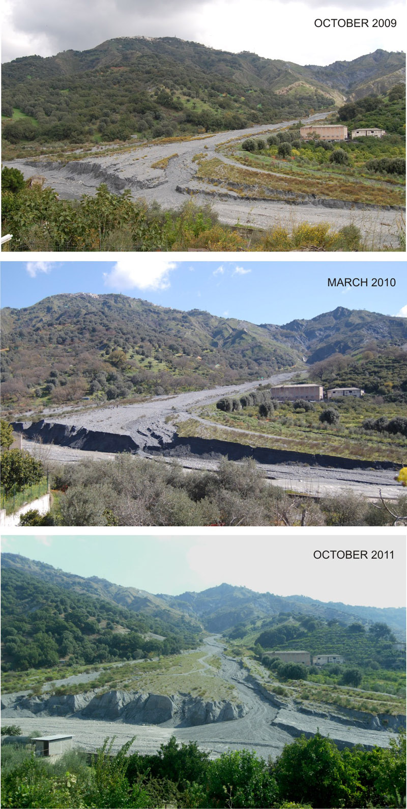 Photo comparison (from October 2009 to October 2011) of the active Inerà alluvial fan, located near the village of San Lorenzo at the confluence of T. Inerà with the Fiumara di Mèlito (souther Calabria). It should be noted that, within one winter season, the fan displays a significant alternation in the progradation/retrogradation process.