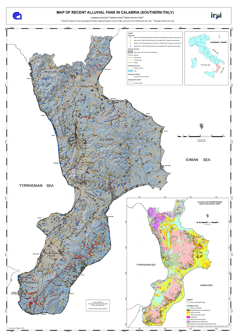 Map of recent debris-flow dominated alluvial fans in Calabria