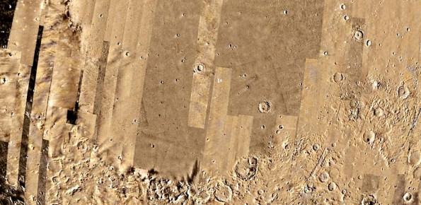 photo source:  NASA/USGS     ESA/DLR/FU Berlin (G.Neukum) Google Earth-Mars OptionP-2 (a) Topography of the Isidis Planitia region from MOLA data. (b) Shaded map of the free-air anomaly data obtained from the Mars Gravity Model. Black dashed lines indicate location of the profiles used for admittance modeling. (c) Topography and (d) free-air gravity as observed across the central profile.