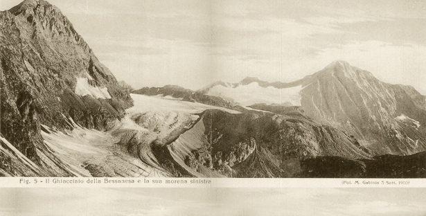 The Bessanese Glacier and its left moraine