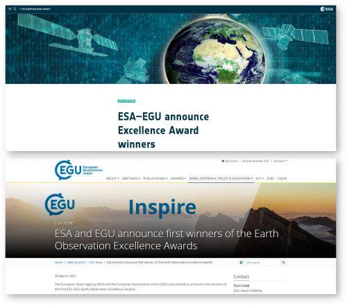 Annuncio del premio siti web ESA e EGU